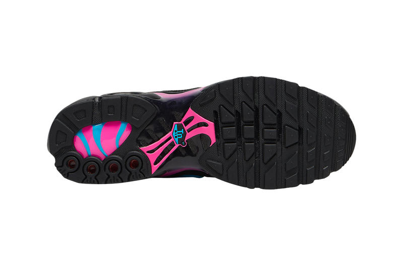 """Nike Air Max Plus Receives """"Miami Vice"""" Treatment fuchsia light blue drop release date price images footwear info"""