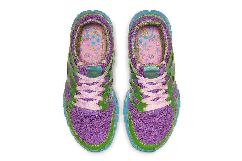 "Nike Relaunches Mackenzie Short's Free Run 2.0 ""Doernbecher"" violet purple green turquoise release drop date info price images footwear"