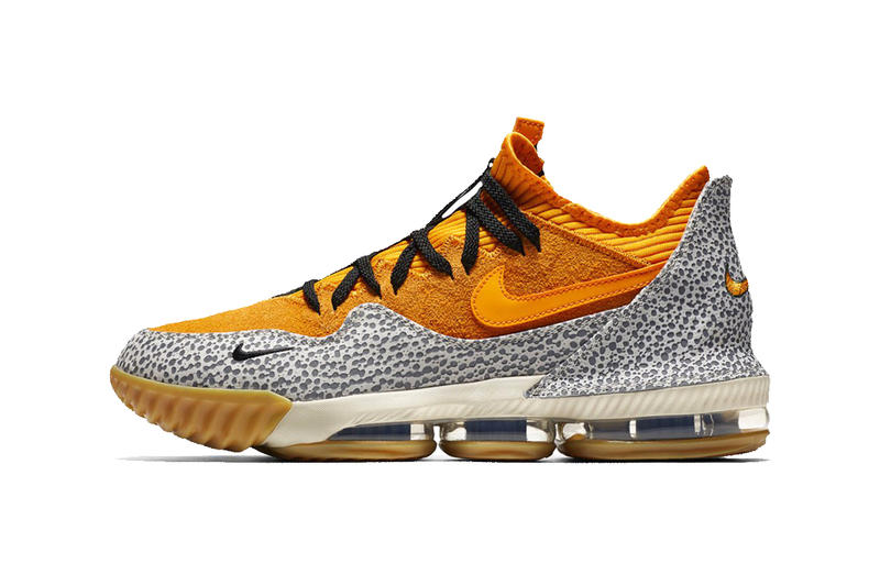 low priced 5f207 a3ab4 Nike LeBron 16 Low Safari First Look yellow gum rubber cement print black  James atmos