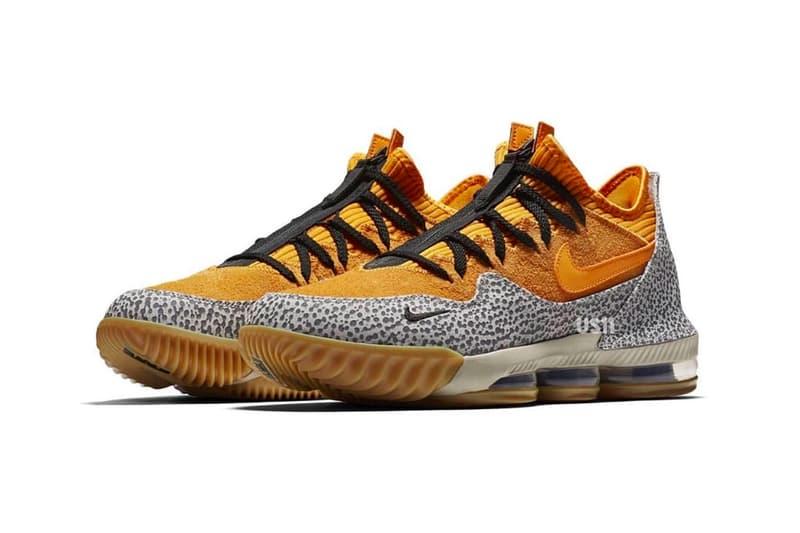 Nike LeBron 16 Low Safari First Look yellow gum rubber cement print black James atmos