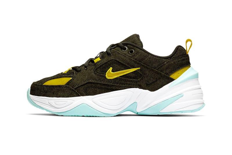 "Nike M2K Tekno ""Denim"" Release jeans yellow blue white swoosh nike sportswear"