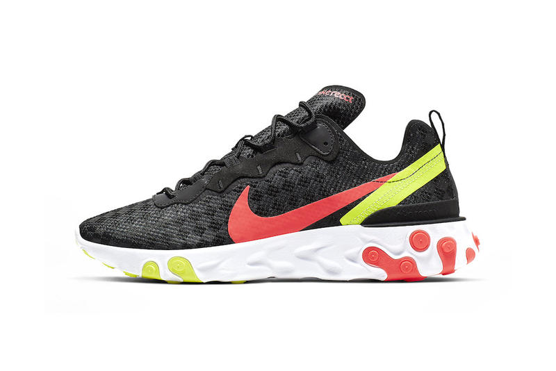 Nike's Latest React Element 55 Receives Hits of Vibrant Colors crimson volt black images price release drop date info footwear