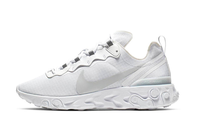 "Nike React Element 55 ""White/Pure Platinum"" Release swoosh white sneakers"
