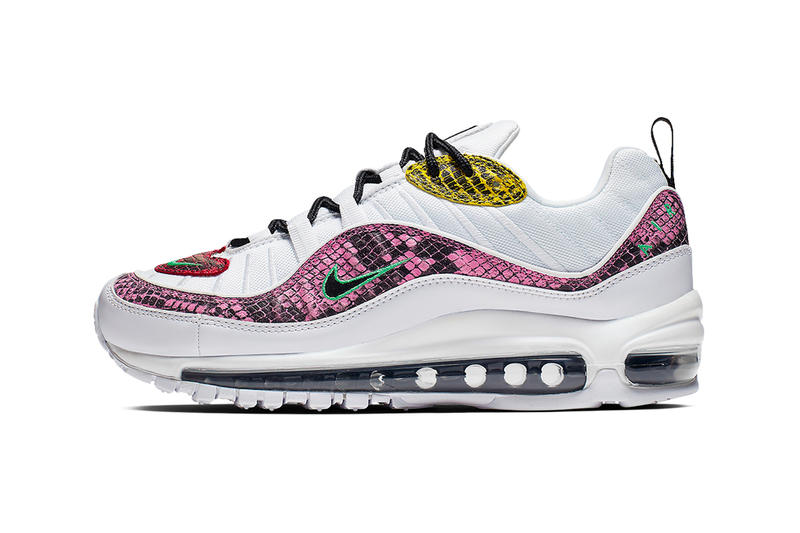 Nike Wmns Air Max 98 Multi-Colored Snakeskin Release drop date images white green yellow pink red black womens footwear