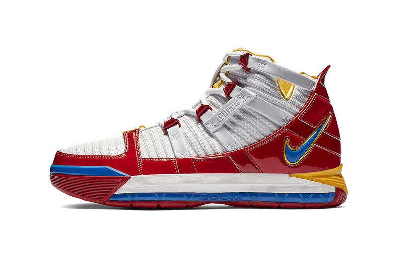 "Nike Zoom LeBron 3 ""SuperBron"" Now on StockX basketball sports game court performance white red yellow blue"