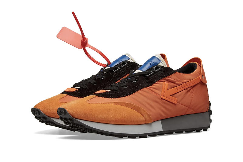 Off-White™ Vintage Arrow Running Sneakers Teal Orange Release Details Closer Look END. Clothing Virgil Abloh footwear