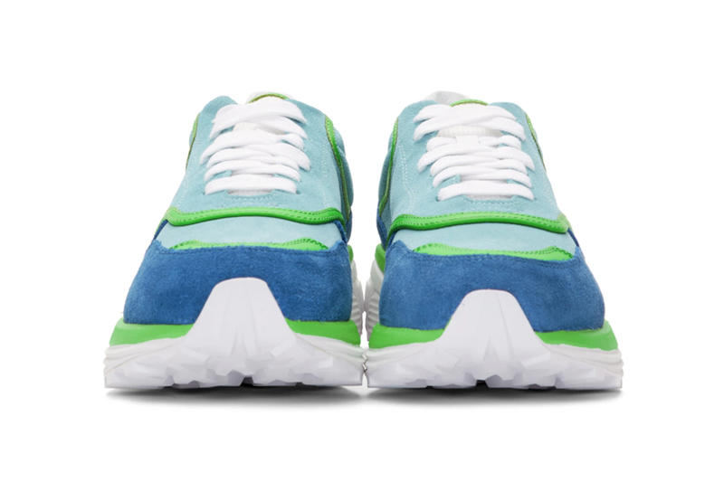 Off White Blue Green Suede Jogger Release sneakers shoes info virgil abloh Vibram
