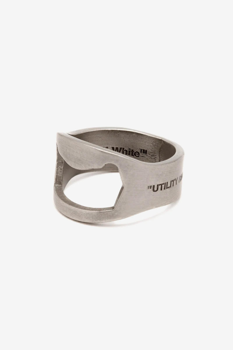 Off White Spring Summer 2019 Industrial Lifesaver necklace Hex Nut bracelet Utility silver-tone ring Jewelry Release silver