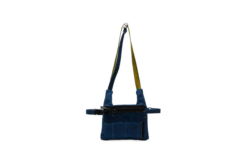Off-White™ Blue Industrial Logo Strap Denim Messenger Bag Cotton where to buy price 2019