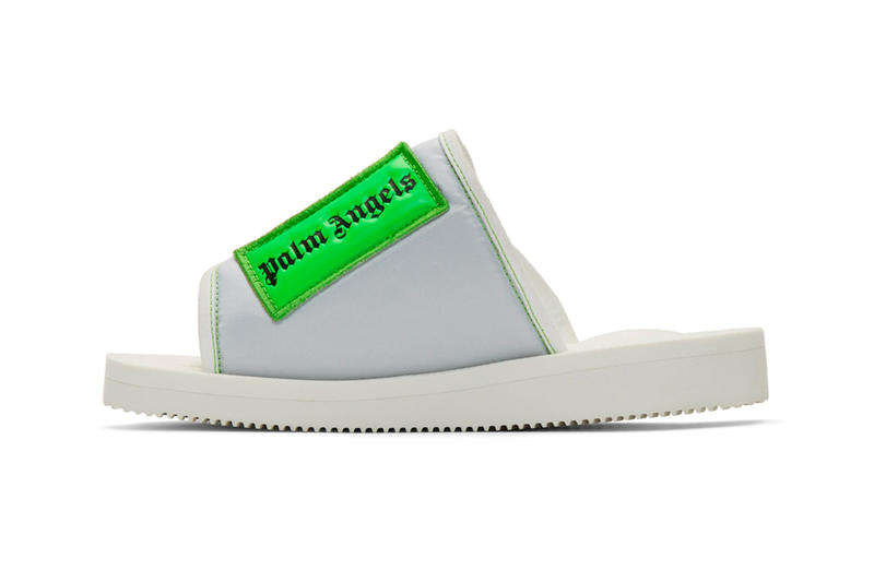 Palm Angels Suicoke Edition Patch Slides White Green Release Francesco Ragazzi SSENSE