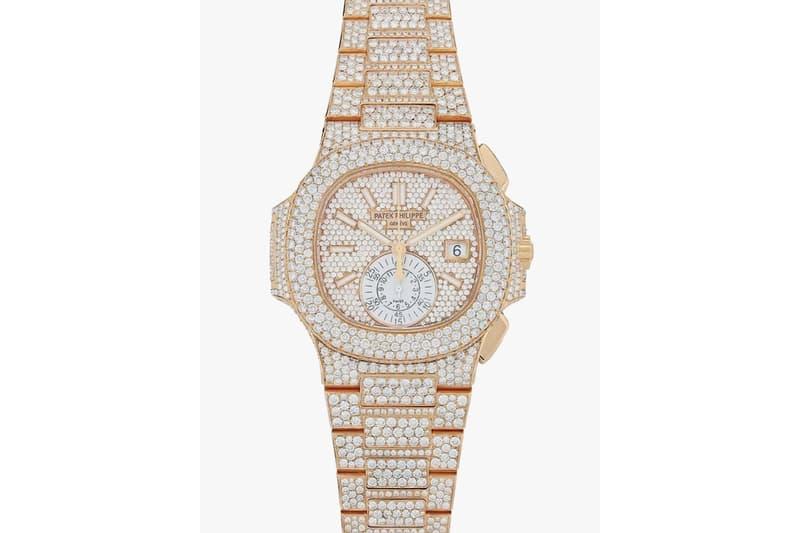 Patek Philippe Diamond-Encrusted Nautilus Watch pink gold rose gold timepiece $129,019 price release info 18 karat gold 40mm diamond bezel dial index markers 5980/1R-001