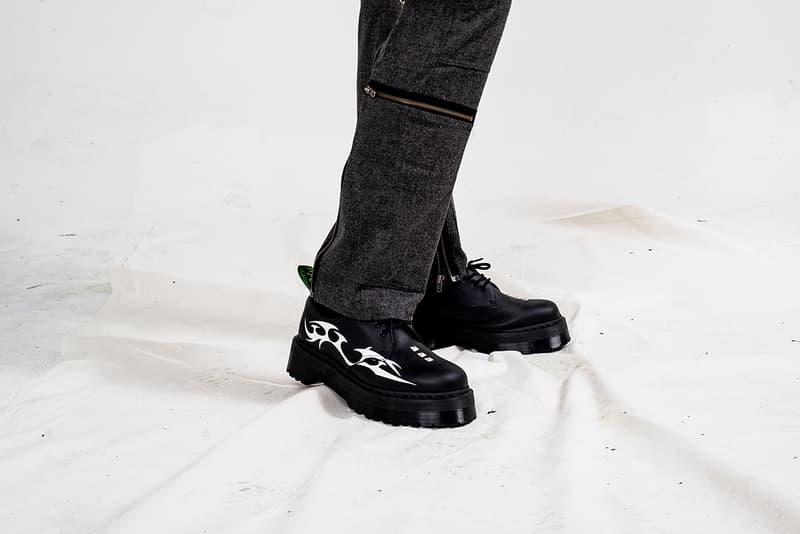 Pleasures Dr Martens 1461 Quad Sole Shoes Collaborative Capsule Collection Teeth Motif Socks T Shirt