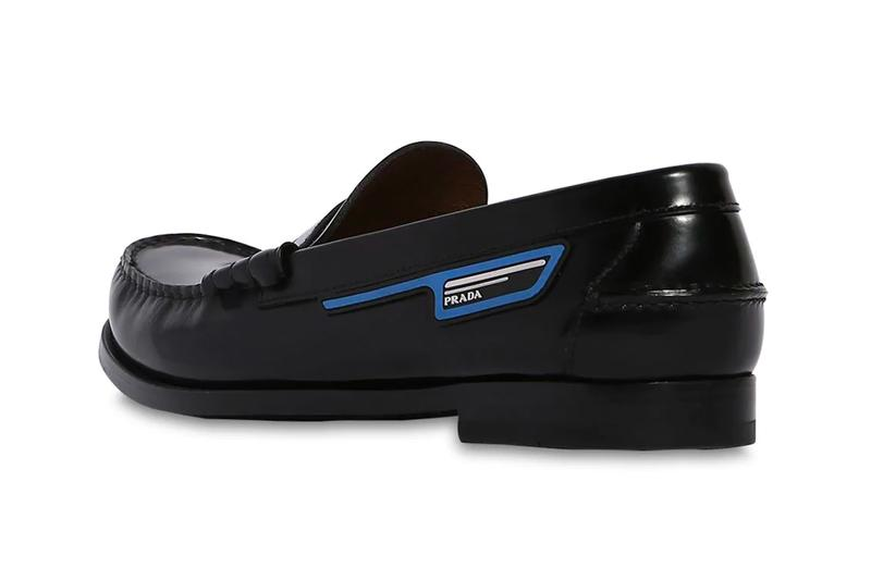 Prada Unveils its Unorthodox Take on Leather Penny Loafers black info images drop release date footwear luisaviaroma