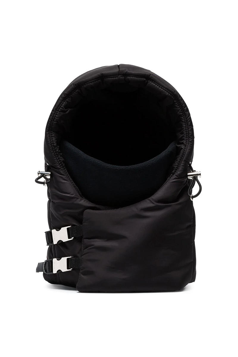 Prada Black Buckle Balaclava Release fashion info headwear accessories padded