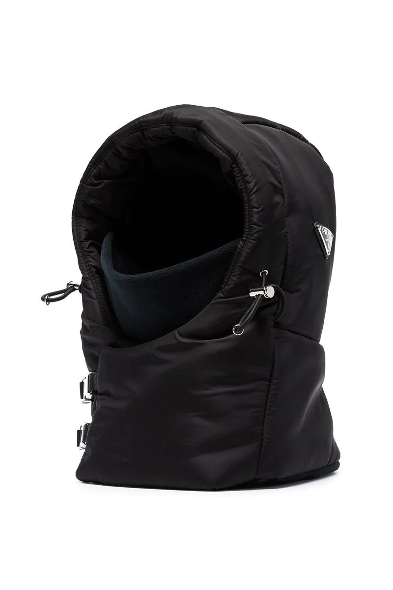 Prada Black Buckle Balaclava Release fashion info headwear accessories padded
