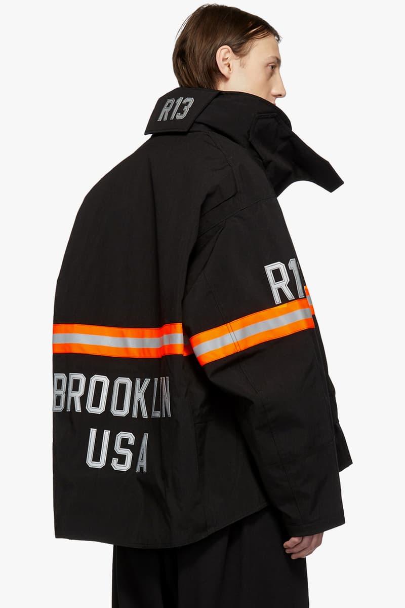 R13 Fireman Jacket Black Orange Nylon Reflective Silver Beige Cream Camouflage Green SSENSE Drop