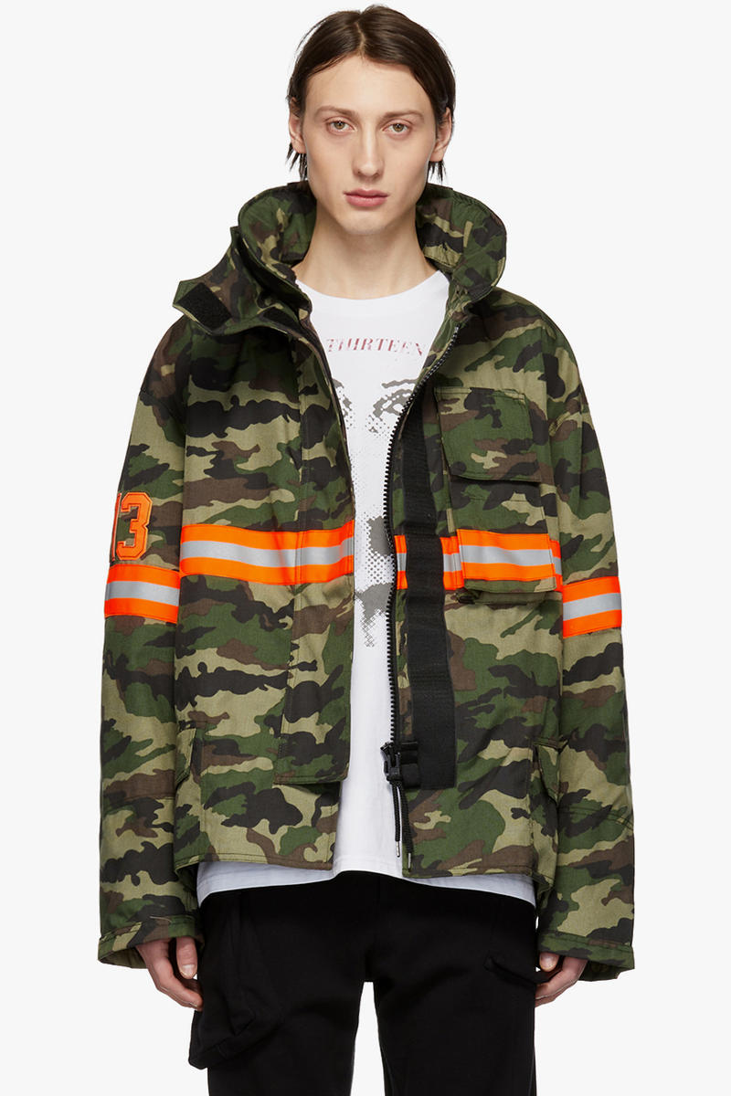 e702b3fda4e6b R13 Fireman Jacket Black Orange Nylon Reflective Silver Beige Cream  Camouflage Green SSENSE Drop