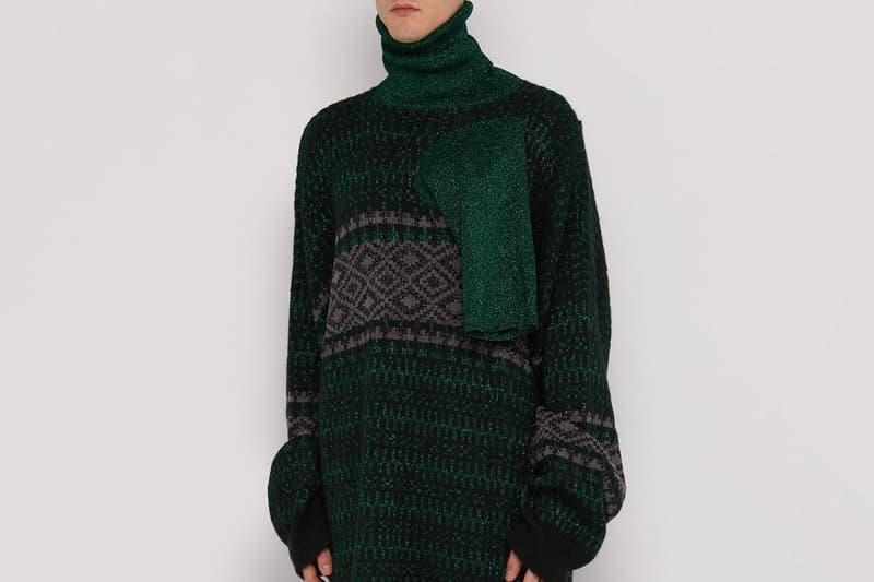 Raf Simon Triple Neck Oversized Jacquard Sweater