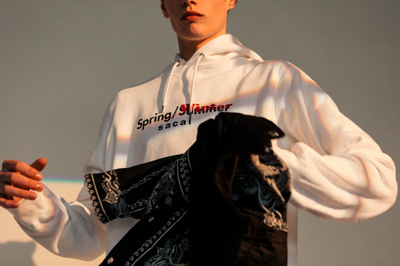 sacai Spotlights Its Coveted SS19 Collabs in Haven's New Editorial dr woo pendleton hoodie denim stadium jacket t shirt shoulder bag porter release drop date price info images apparel