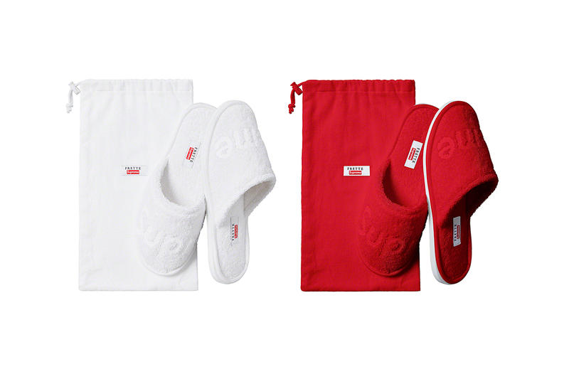 Supreme Spring/Summer 2019 Accessories White/Red Slippers