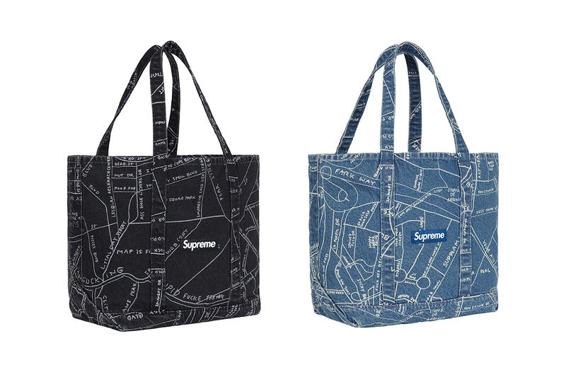 Supreme Spring/Summer 2019 Accessories Black/Blue Denim Map Tote Bags