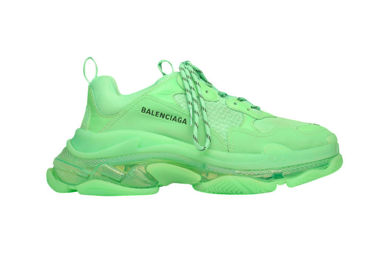 "Balenciaga Triple S ""Neon Green"" Release Info available now stockist web store 541624W09OL3801 Triple S in neon green leather, double foam and mesh translucent sole"