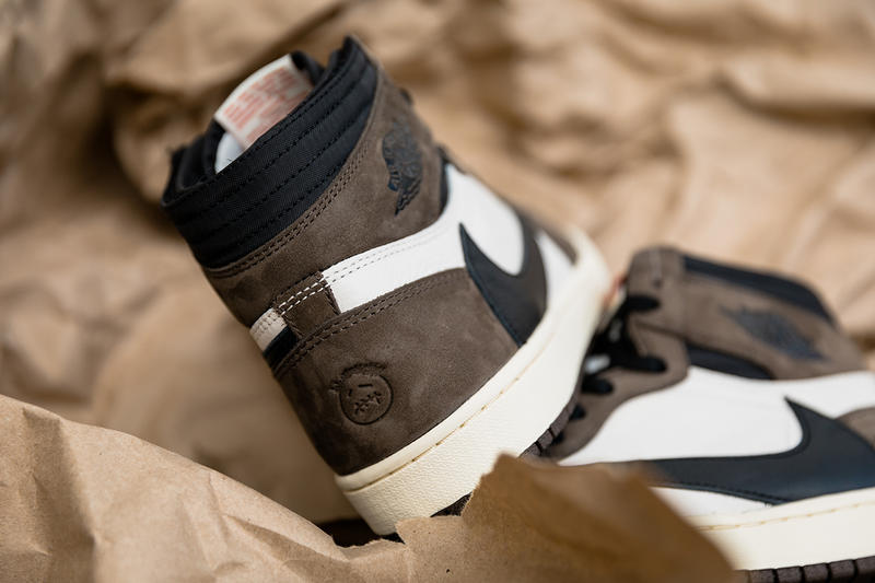 travis scott air jordan 1 retro high og closer look 2019 april footwear jordan brand collaborations cactus jack brown white black red ankle pocket