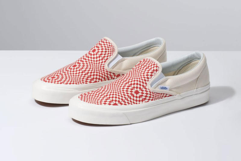 Vans Anaheim Factory Warp Check Sk8-Hi Slip-On pack drop release date buy checkerboard pattern red black