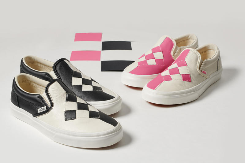 7c70ce4a548d Vans Premium Woven Checkerboard Slip-Ons Black Marshmallow White Brushed  Gold Pink Vamp Diamond Stitch
