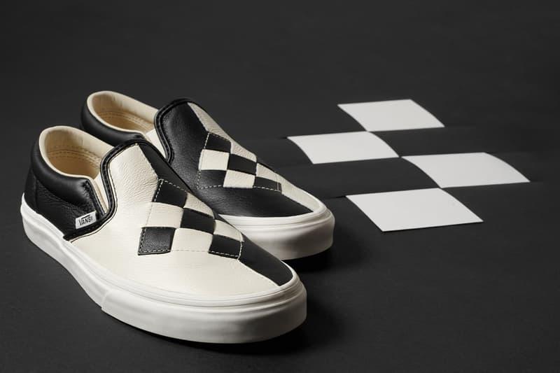 Vans Premium Woven Checkerboard Slip-Ons Black Marshmallow White Brushed Gold Pink Vamp Diamond Stitch