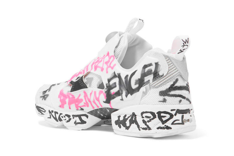 Vetements & Reebok Debut New Instapump Fury pink white graffiti