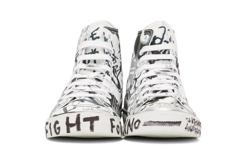 "Vetements Georgian Graffiti Low & High-Top Sneakers made in Italy white black ""fuck war"" ""war is terrorism"" ""just say no"""