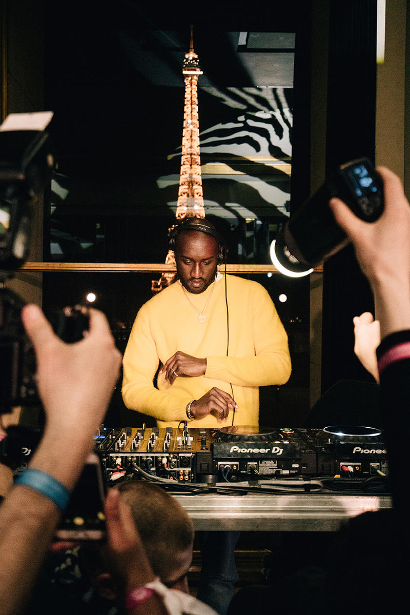 virgil abloh evian water launch party one drop can make a rainbow inside bottle somos release drop buy sale france paris dj set