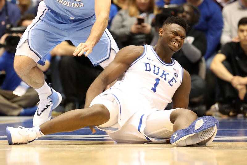 zion williamson blue devils duke unc university of north carolina tar heels nike pg 2.5 sneaker pg2.5 blow out through toe ankle mild knee sprain response responds lawsuit injury