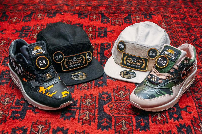 24 Kilates Nike Air Max 1 Custom Pairs Sneakers Sabotage SBTG Singapore Artist Customiser Stampede Collection The Mine Bangkok Thailand New Era Cap Design X Ray Camouflage Velcro Patches Military Inspired