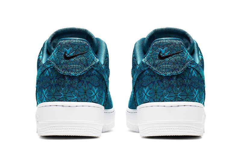 Nike Air Force 1 Stained Glass Window Royal Emerald Teal Colorway Black Detailing Special Release Opulent Monochromatic Tonal Loud Embroidered All Over Design Information Drop Date