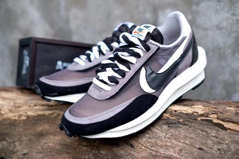 "sacai x Nike FW19 ""LDV With Waffle Daybreak"" collaboration fall winter 2019 sneaker monochrome close look black white grey double runner silhouette model"