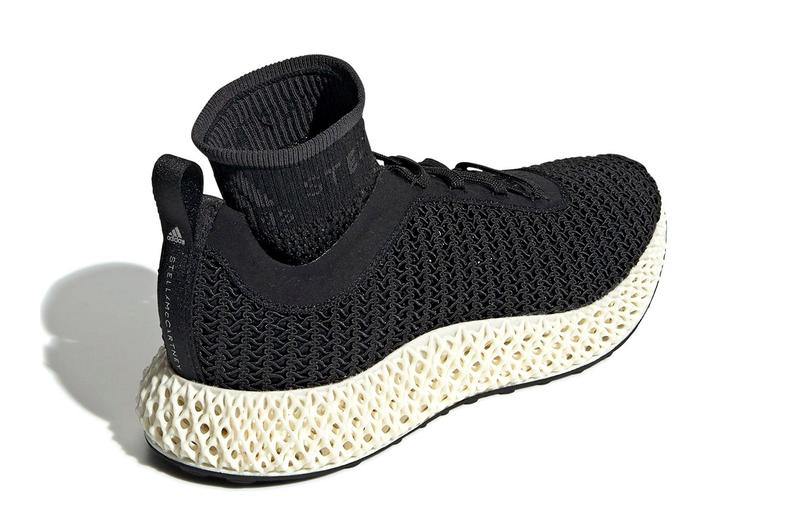 Stella McCartney x adidas AlphaEdge 4D futurecraft black sock liner white 3d printed three stripes