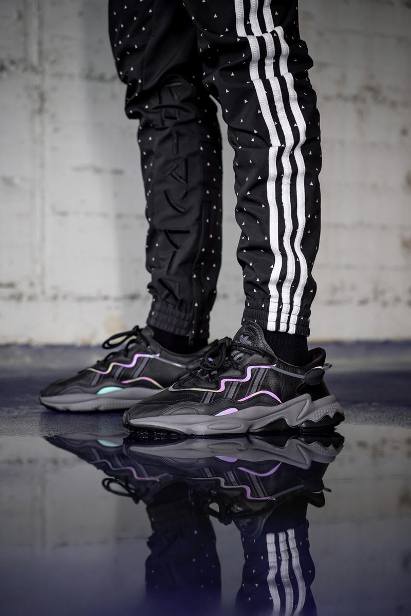 adidas adiprene oz ozweego black xeno leather reflective stitching on foot release date info october 2019 november drop buy colorway