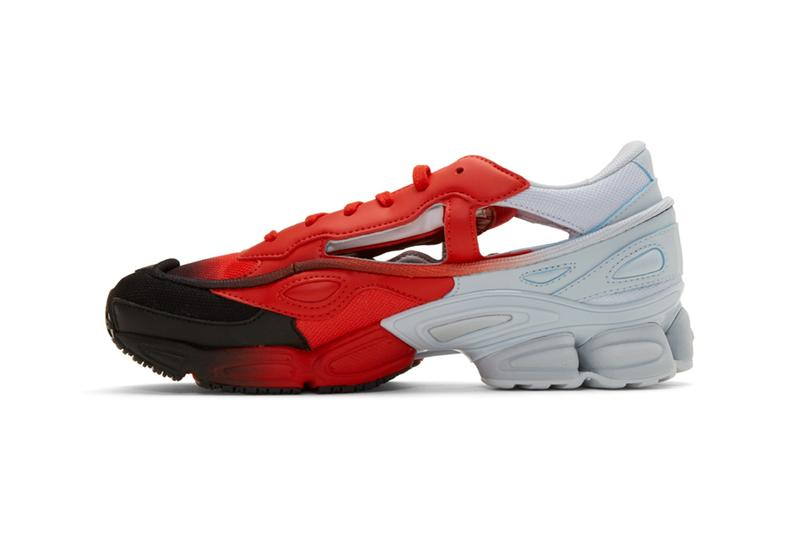 Raf Simons x adidas Replicant Ozweego Gradient sock pack sneakers yellow & black red & blue release info pricing stockist ssense