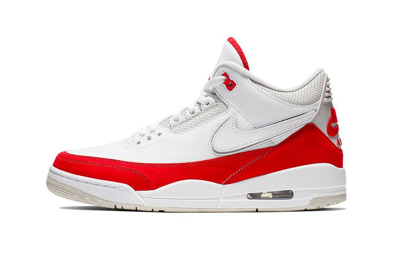 "Air Jordan 3 Tinker ""White/University Red"" on StockX university red white sail removable swoosh grey elephant print"