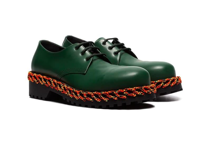 Balenciaga Laced Sole Leather Derby Shoes Release Green Orange Black Demna Gvasalia