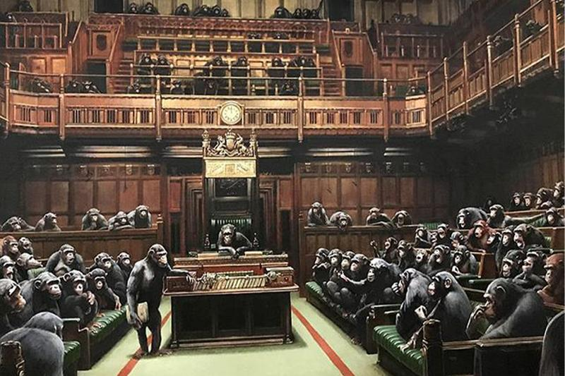Banksy's Devolved Parliament Display Brexit Chimpanzees Bristol Museum Art Gallery