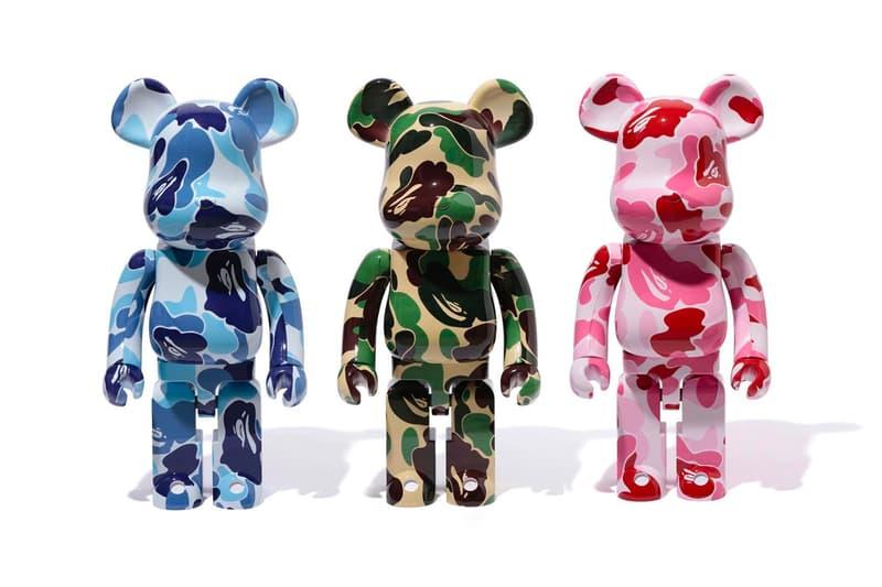 BAPE Medicom Toy ABC CAMO BE@RBRICK 1000 Release Green Blue Pink