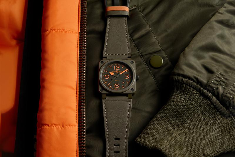 Bell & Ross BR03-92 MA-1 Bomber Flight Jacket Inspired Watch Reversible Strap Khaki Ceramic Orange Super Luminova US military camouflage SOS signal Pilot Timepiece Release Date Closer Look Information Drop Pricing Where To Buy Cop Now