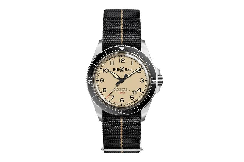 Bell & Ross BR V2-92 Military Beige Vintage Watch Calibre BR-CAL.302 41mm Polished Steel Face Canvas Strap 100m Water Resistance Sapphire Glass Vintage Aviation Inspired Timepiece Classic Design