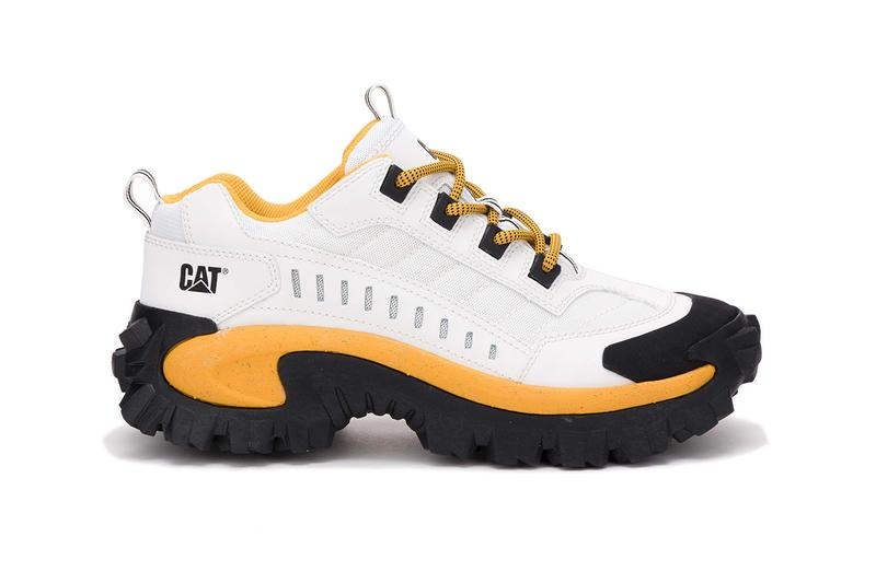 cat intruder new black white footwear 2019 march Caterpillar yellow gold