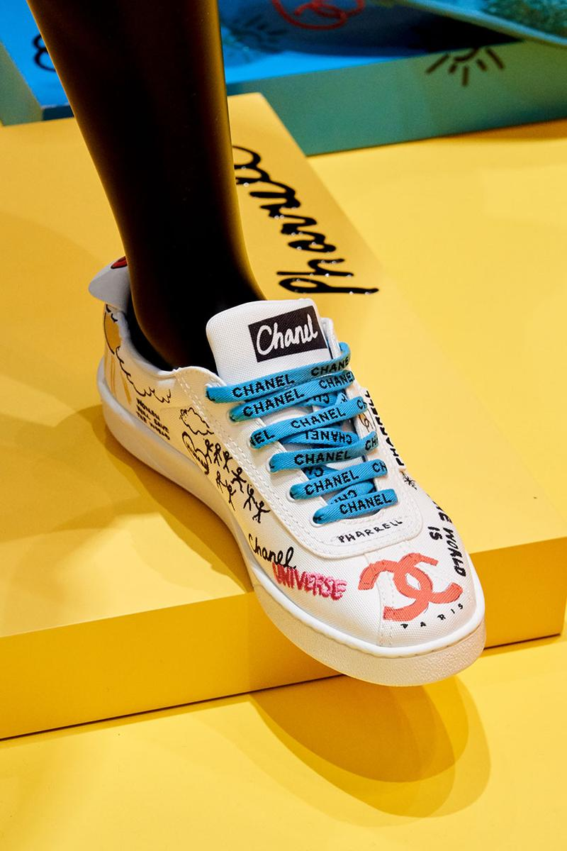 Chanel Pharrell SS19 Collection Seoul Debut Pharrell Williams Karl Lagerfeld jewelry clothes loafers bags accessories bucket hat release info price drop date