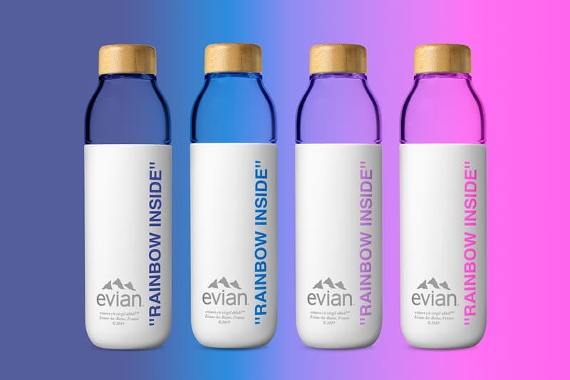 Evian By Virgil Abloh Soma Refillable Glass Bottle Restock MATCHESFASHION.COM Pink Purple Blue