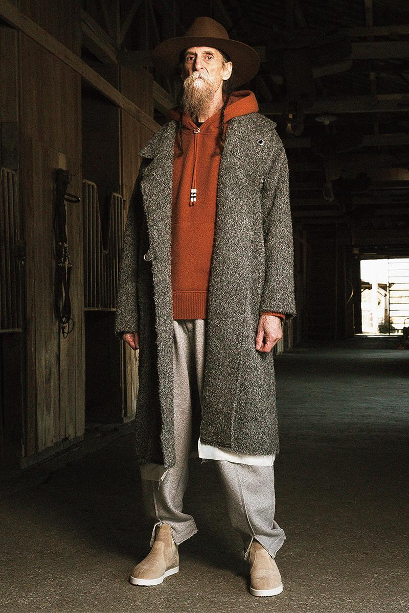 FACCIES Fall/Winter 2019 Collection Lookbook japan japanese americana wild wild west cowboy native american old dude model ponchos sweats outerwear trousers overcoats embroidery